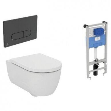 Komplektas: WC rėmas Ideal Standard Prosys 120 M su klavišu, klozetas su dangčiu