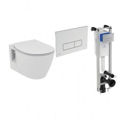 Komplektas: WC rėmas Ideal Standard Prosys Eco su klavišu, unitazas su dangčiu