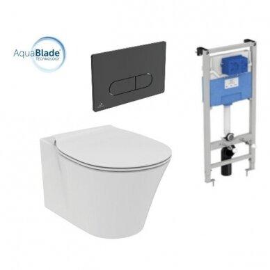 Komplektas: WC rėmas Ideal Standard su klavišu, klozetas su dangčiu