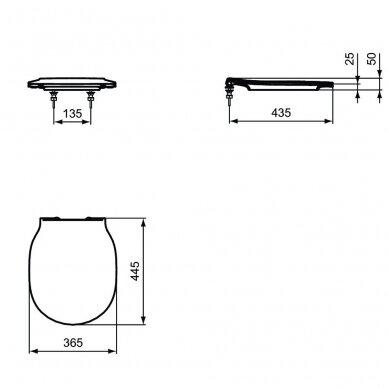 Komplektas: WC rėmas Ideal Standard su klavišu, klozetas su dangčiu 5