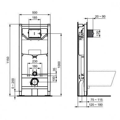 Komplektas: WC rėmas Ideal Standard su klavišu, klozetas su dangčiu 6
