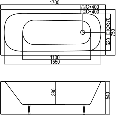 Akrilinė vonia Kyma Indra 170 cm 3