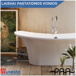 Laisvai pastatoma vonia stilingam vonios interjerui