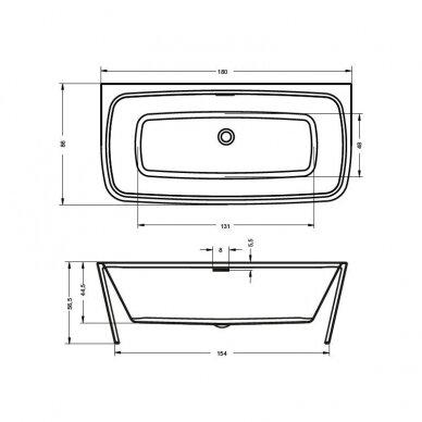 Laisvai pastatoma vonia Riho Adore 180 cm 3