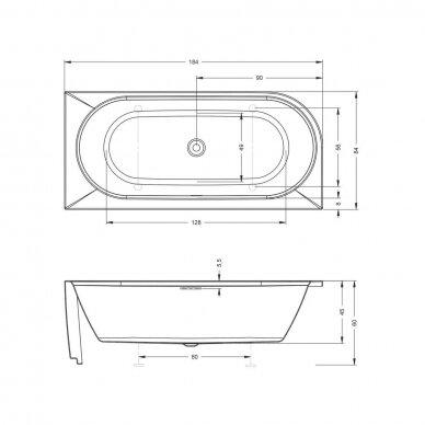 Laisvai pastatoma vonia Riho Desire 180 cm 4