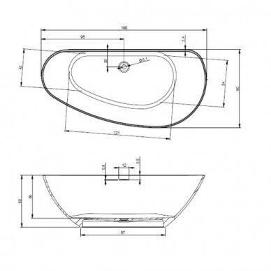 Laisvai statoma vonia Riho Granada 190 cm 4
