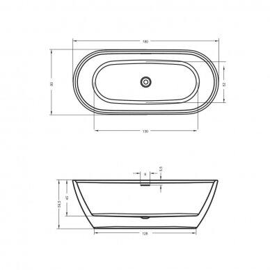 Laisvai statoma vonia Riho Inspire 160, 180 cm 3
