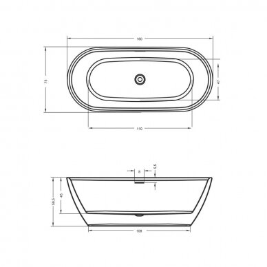 Laisvai statoma vonia Riho Inspire 160, 180 cm 4