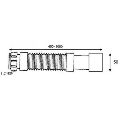 "Lanksti žarna 1 1/2""x40/50 mm virtuviniams  sifonams 3"