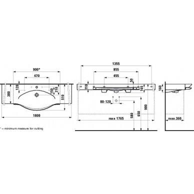 Praustuvas su rankšluosčių laikikliu Laufen Palace 180 cm 2