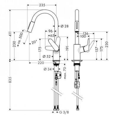 Maišytuvas plautuvei Hansgrohe Focus M41 ištraukiama galvutė 3
