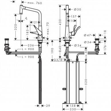 Maišytuvas plautuvei Hansgrohe Metris Select M71 ištraukiama galvute 6
