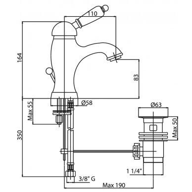 Maišytuvas praustuvui Fiore Imperial 83CR5221, chromas 3