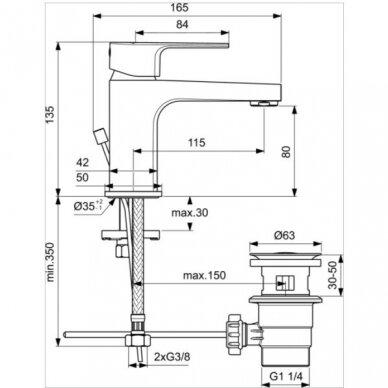 Maišytuvas praustuvui Ideal Standard Cerafine D H80 2