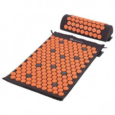 Masažinio akupresūros kilimėlio ir pagalvėlės rinkinys HMS Premium