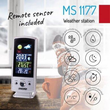 Mesko MS 1177 Weather station, White, Colorful Digital Display, Remote Sensor 2