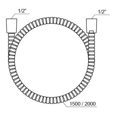 Metalinė dušo žarna Ravak su apsauginiu sluoksniu, 150, 200 cm 2