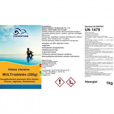 Multi tabletės 200g (chloras,algicidas,flokuliantas) Chemoform, 1kg 2