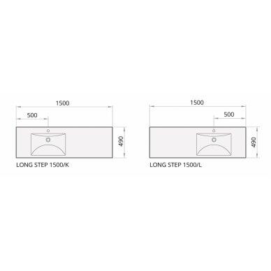 Akmens masės praustuvas PAA Long Step 1500x490 mm 8