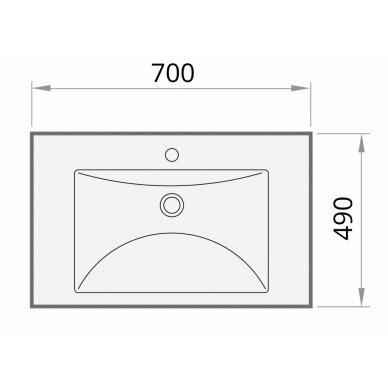 Akmens masės praustuvas PAA Long Step 700x490 mm 4