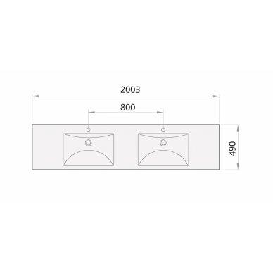 Akmens masės praustuvas PAA Long Step Duo 2000x490 mm 4