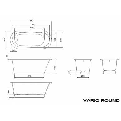 Akmens masės vonia PAA Vario Round 166x75 cm 6