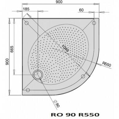 Dušo padėklas PAA Art RO R550 80, 90, 100 cm 4