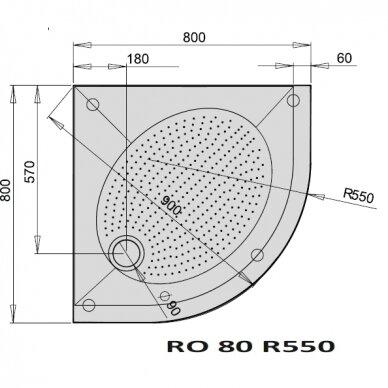 Dušo padėklas PAA Art RO R550 80, 90, 100 cm 3