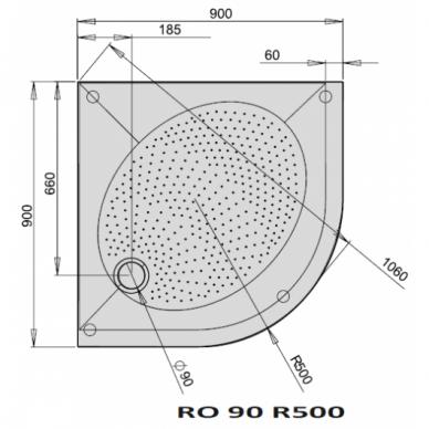 Dušo padėklas PAA Art RO (R500) 90 cm 2