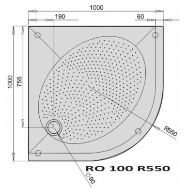 Dušo padėklas PAA Art RO R550 80, 90, 100 cm 5
