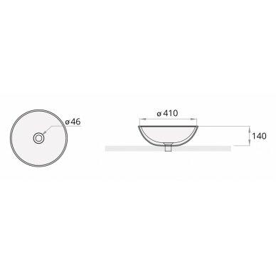 Praustuvas PAA Graphite Round On 410 mm 3