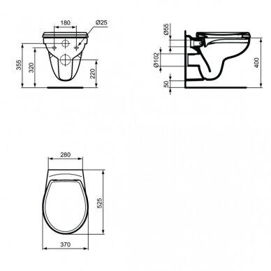 Pakabinamas unitazas Ideal Standard Eurovitsu Soft Close dangčiu 5