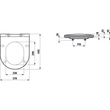 Pakabinamas unitazas Laufen Pro Compact Rimless su dangčiu 4