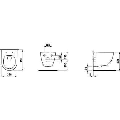 Pakabinamas unitazas Laufen Pro Compact Rimless su dangčiu 5