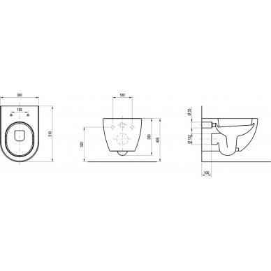 Pakabinamas WC puodas Ravak Uni Chrome RimOff 10
