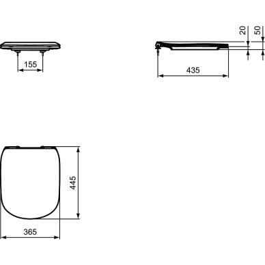 Pastatomas klozetas su bakeliu ir dangčiu Ideal Standard Tesi Aquablade 8