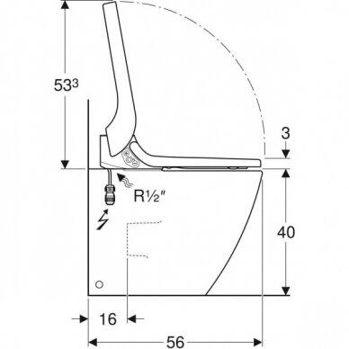 Pastatomas WC puodas ir išmanusis dangtis Geberit AquaClean Tuma Comfort 5