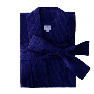 Perkelio medvilnės chalatas DecoFlux Kimono Royal Cobalt
