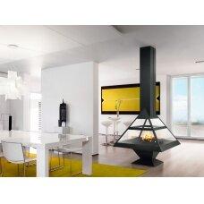 Plieninis židinys Traforart Admeto, centrinis, piramidės formos, malkinis, 10 kW, 100 m2