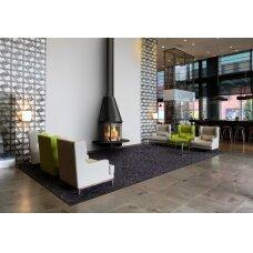Plieninis židinys Traforart Arlet, montuojamas ant sienos, juodas, 10 kW, 100 m2, malkinis