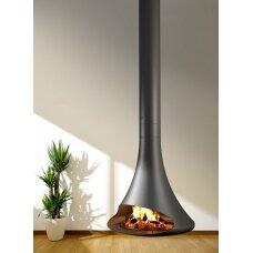 Plieninis židinys Traforart Doria, centrinis, antracito spalvos, malkinis, 6 kW, 60 m2