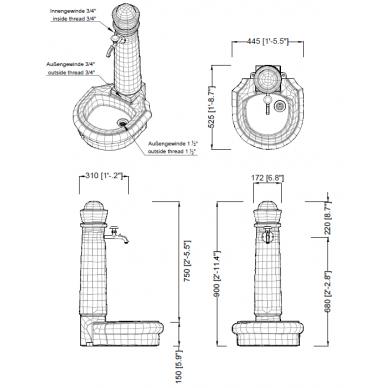 Plastikinė vandens kolonėlė su kriaukle Venezia, granito imitac. 4