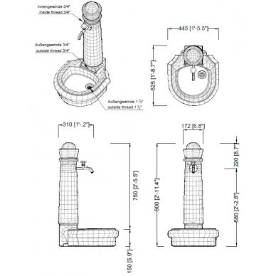 Plastikinė vandens kolonėlė su kriaukle Venezia, granito imitac. 3