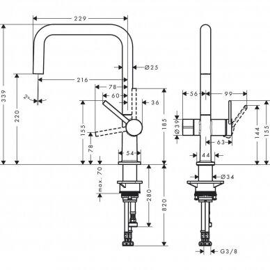 Plautuvės maišytuvas Hansgrohe Talis M54 2