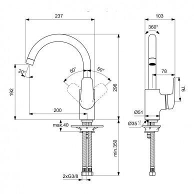 Plautuvės maišytuvas Ideal Standard Ceraflex 4