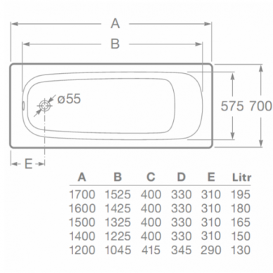 Plieninė stačiakampė vonia Roca Contesa 120, 140, 150, 160, 170 cm 2