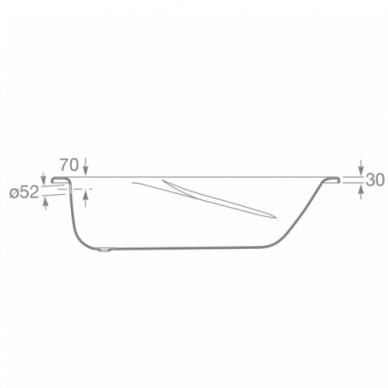 Plieninė stačiakampė vonia Roca Princess-N 150, 160, 170 cm 3