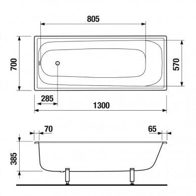 Plieninė vonia Jika Riga 120, 130, 140, 150, 160, 170 cm 3