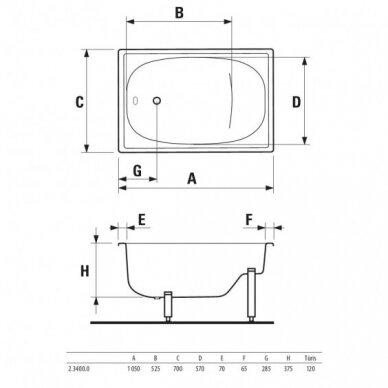 Plieninė vonia Jika Riga Mini 105 cm 3