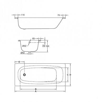 Plieninė vonia Jika Tanza 140, 150, 160, 170 cm 2